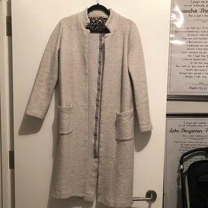 Anthropologie Grey Boiled-wool Sweater Coat